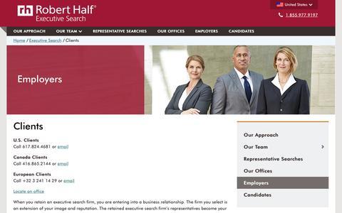 Screenshot of Contact Page roberthalf.com - For Executive Clients - Robert Half Executive Search - captured Nov. 30, 2016