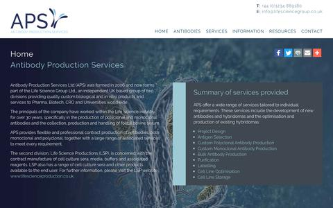 Screenshot of Home Page antibodyproduction.co.uk - Antibody Production Services | APS provide custom biological and in vitro products and services - captured Nov. 21, 2016