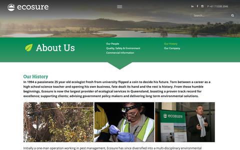 Screenshot of About Page ecosure.com.au - Our History - Ecosure - captured Dec. 7, 2018