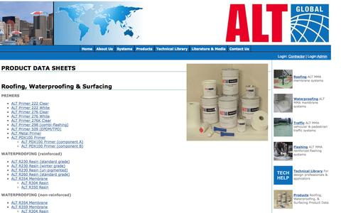 Screenshot of Products Page altglobal.com - ALT Global, LLC - Roofing, Waterproofing, & Surfacing - About Us - captured Oct. 4, 2014