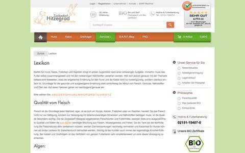 Screenshot of Services Page zoobedarf-hitzegrad.de - Lexikon   Barf Shop   Zoobedarf Hitzegrad - captured June 14, 2018