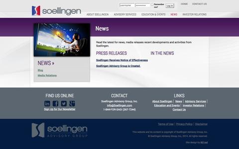 Screenshot of Press Page soellingen.com - News «  Soellingen Advisory Group, Inc. - captured Oct. 7, 2014