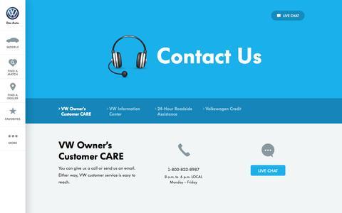 Screenshot of Contact Page vw.com - Contact Us - captured Sept. 18, 2014