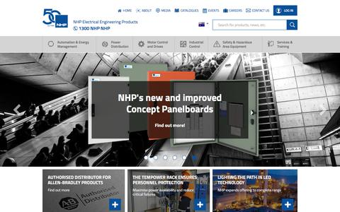 Screenshot of Home Page nhp.com.au - NHP Electrical Engineering Products - captured May 24, 2018