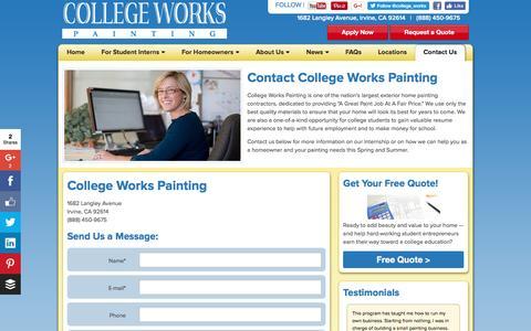 Screenshot of Contact Page collegeworks.com - Contact College Works Painting | CollegeWorks.com - captured Nov. 9, 2016
