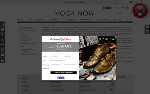 Screenshot of About Page voganow.com - Leather Manufacturers in India, Largest Online Store - captured Feb. 19, 2016
