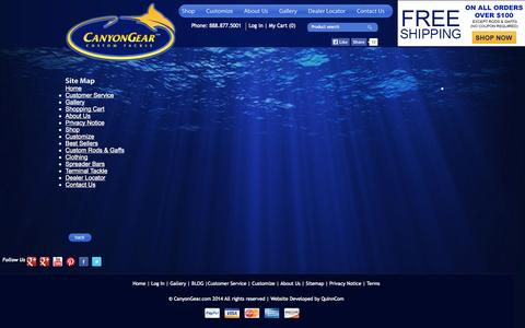 Screenshot of Site Map Page canyongear.com - Site Map : Saltwater Fishing Lures | Custom Big Game Fishing Lures - captured Sept. 30, 2014