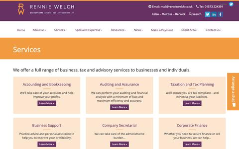 Screenshot of Services Page renniewelch.co.uk - Accountancy Services Kelso, Melrose & Berwick : Rennie Welch - captured Oct. 20, 2018