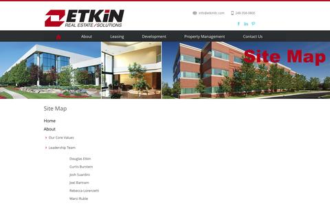 Screenshot of Site Map Page etkinllc.com - Etkin Real Estate Solutions - captured Oct. 3, 2014