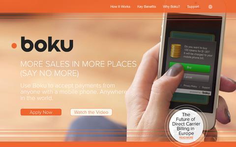 Screenshot of Home Page boku.com - BOKU - captured Jan. 15, 2015