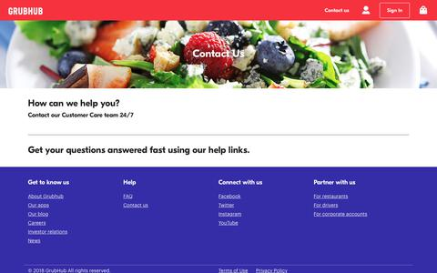 Screenshot of Contact Page grubhub.com - Contact Us - captured Aug. 16, 2018