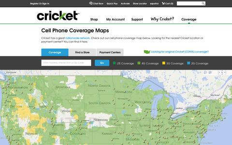 Screenshot of Maps & Directions Page cricketwireless.com - Cell Phone Coverage Maps | Store & Payment Locations | Cricket - captured Sept. 18, 2014