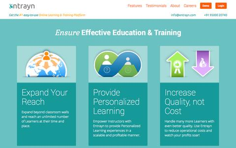 Screenshot of Home Page Testimonials Page entrayn.com - Entrayn: Online Teaching and e-Learning Platform. Study anytime, anywhere. Let learning be fun and teaching a joy | Entrayn - captured Oct. 3, 2014