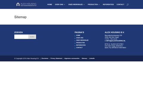 Screenshot of Site Map Page alexhousing.nl - Sitemap   Alex Housing Vastgoedpresentatie - captured May 29, 2017