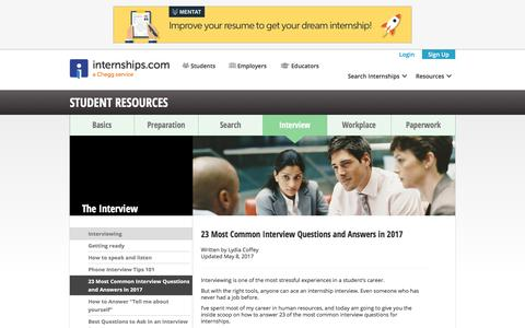 Screenshot of FAQ Page internships.com - 23 Most Common Interview Questions and Answers in 2017 | Internships.com - captured Sept. 21, 2018