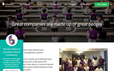 Screenshot of Team Page brandworkz.com - Our People | Meet the team behind our Brand Management Software - captured Nov. 16, 2018