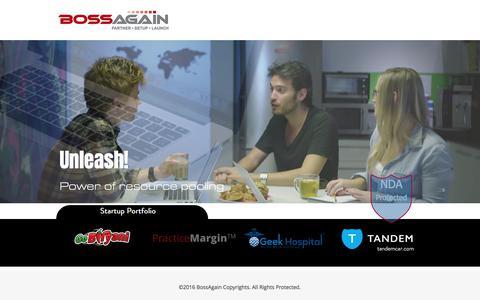 Screenshot of Home Page bossagain.com - BossAgain | StartUp Coach & Business Management Consultants - captured Oct. 10, 2017