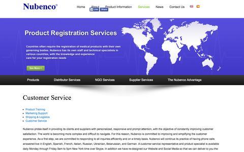 Screenshot of Support Page nubenco.com - Nubenco | Customer Service - captured Feb. 15, 2016