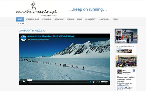 Screenshot of Home Page run-passion.pl - ...keep on running... - run-passion…keep on running… - captured Jan. 26, 2018