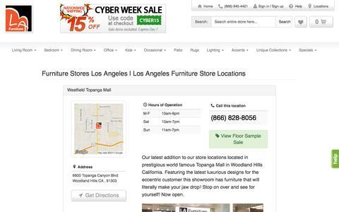 Screenshot of Locations Page lafurniturestore.com - LA Furniture Store locations in Los Angeles, New York & Vernon, CA - captured Dec. 5, 2015