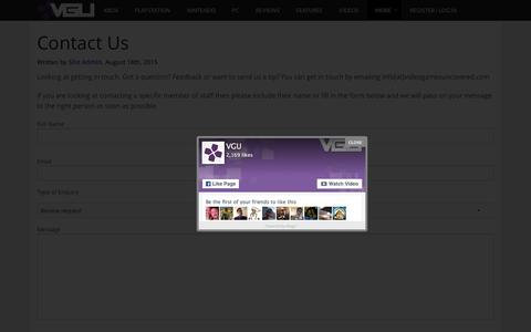 Screenshot of Contact Page videogamesuncovered.com - Contact Us - VGU - captured April 25, 2016
