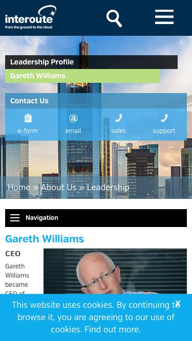 Screenshot of Team Page  interoute.com - Gareth Williams | Chief Executive Officer | Interoute