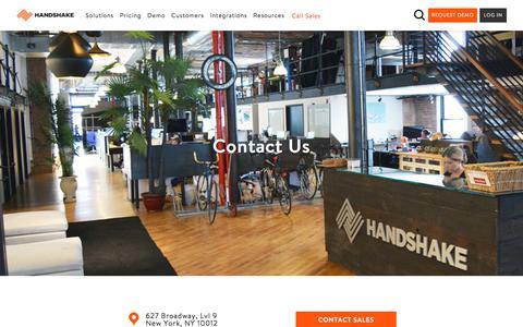 Screenshot of Contact Page handshake.com - Contact Us | Handshake B2B eCommerce - captured Sept. 16, 2018