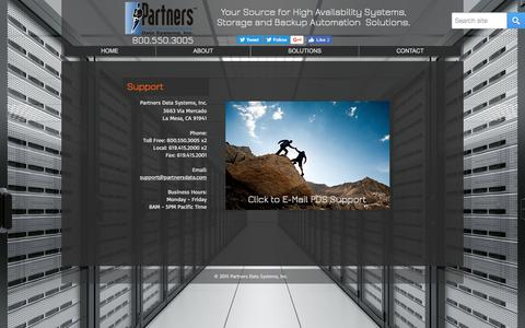 Screenshot of Support Page partnersdata.com - Partners Data Systems, Inc.   SUPPORT - captured Oct. 22, 2016