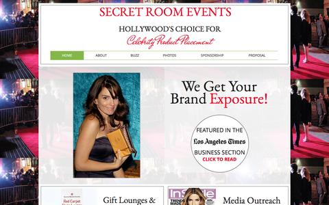 Screenshot of Home Page secretroomevents.com - Secret Room Events Celebrity Gifting - captured Feb. 4, 2016