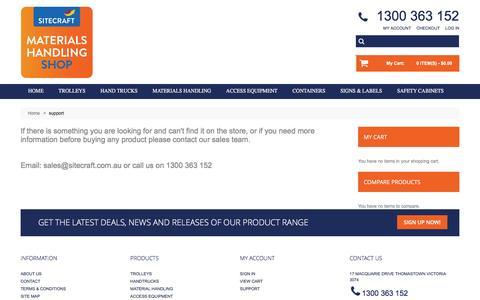 Screenshot of Support Page materialshandlingshop.com.au - support - captured March 16, 2016