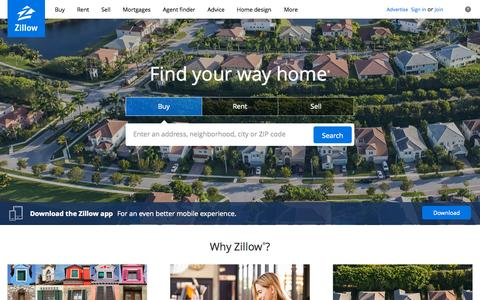 Screenshot of Home Page zillow.com - Real Estate, Apartments, Mortgages & Home Values | Zillow - captured Oct. 7, 2015