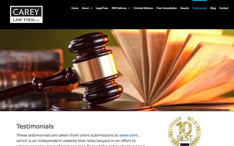 Screenshot of Testimonials Page careydwidefense.com - Testimonials | DUI Attorney - Affordable - Criminal Defense Attorney - captured Sept. 27, 2018