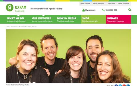 Screenshot of Jobs Page oxfam.org.au - Work with us | Oxfam Australia - captured Jan. 15, 2016