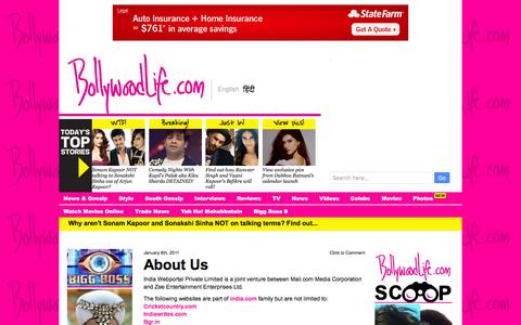 Screenshot of About Page bollywoodlife.com captured Jan. 13, 2016