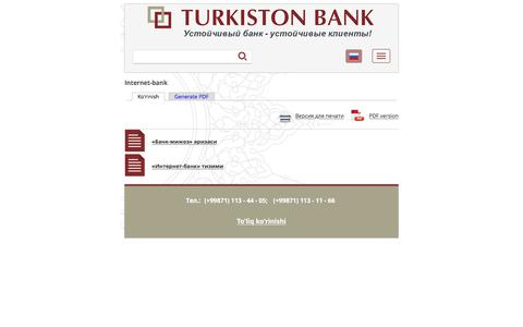 Internet-bank | Turkiston Bank