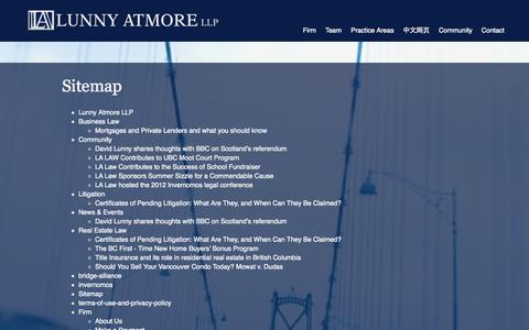 Screenshot of Site Map Page lunnyatmore.com - Sitemap | Lunny Atmore LLPLunny Atmore LLP - captured Oct. 3, 2014