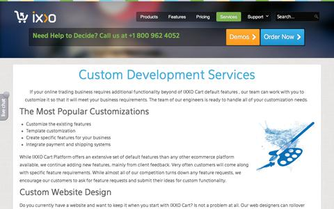 Screenshot of Services Page ixxocart.com - Custom Development - ixxocart.com - captured Sept. 22, 2018