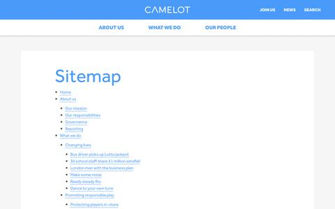 Screenshot of Site Map Page camelotgroup.co.uk - Sitemap - Camelot Group - captured Aug. 30, 2016