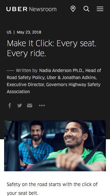 Screenshot of Press Page  uber.com - Make It Click: Every seat. Every ride. | Uber Newsroom US