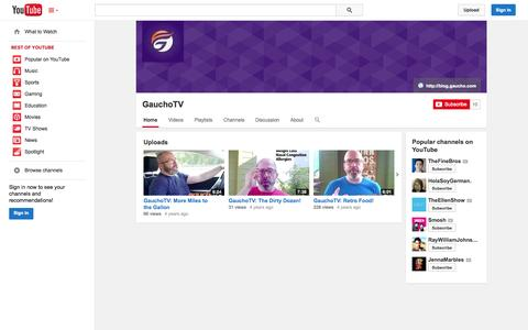 Screenshot of YouTube Page youtube.com - GauchoTV  - YouTube - captured Oct. 22, 2014