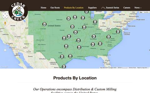 Screenshot of Locations Page cedarcreek.com - Products By Location |  Cedar Creek | Lumber & Building Materials - captured Sept. 29, 2014