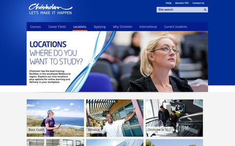 Screenshot of Locations Page chisholm.edu.au - TAFE locations for Melbourne courses | Chisholm - captured Nov. 6, 2014