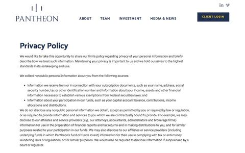 Screenshot of Privacy Page pantheon.com - Privacy Policy | Pantheon - captured March 14, 2018