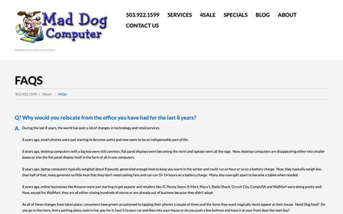 Screenshot of FAQ Page maddogpdx.com - FAQs - Mad Dog ComputerMad Dog Computer - captured Oct. 1, 2018