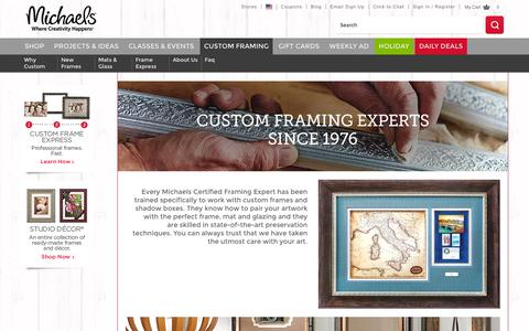 Screenshot of About Page michaels.com - Custom Framing Experts | Michaels Stores - captured Nov. 23, 2015