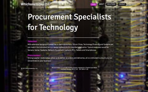 Screenshot of Home Page whichonetobuy.com - Whichonetobuy Procurement Specialists and Cloud Computing Support - captured Feb. 14, 2016