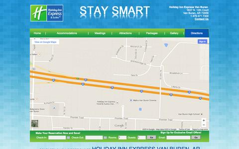 Screenshot of Contact Page Maps & Directions Page hievanburen.com - Hotels Near Fort Smith, Contact Holiday Inn Express Van Buren, Directions - captured Oct. 22, 2014