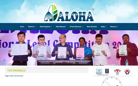 Screenshot of Testimonials Page alohaindia.com - Testimonials | ALOHA - captured Nov. 19, 2016