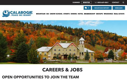 Screenshot of Jobs Page calabogie.com - Join Our Team | Careers | Calabogie Peaks Resort - captured Nov. 9, 2018