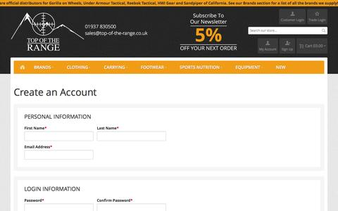 Screenshot of Signup Page top-of-the-range.co.uk - Create New Customer Account  - Top of the Range - captured Feb. 17, 2016